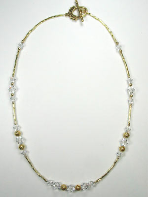 Swarovski crystal on gold necklace