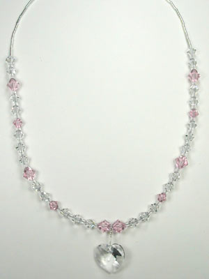 pink and crystal necklace with Swarovski heart