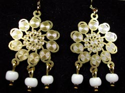 Gold Lazer Lace and white bead earrings