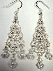 crystal and silver chandelier earrings