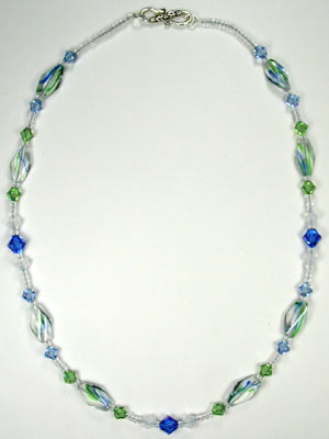 Swarovski handcrafted sapphire and peridot necklace