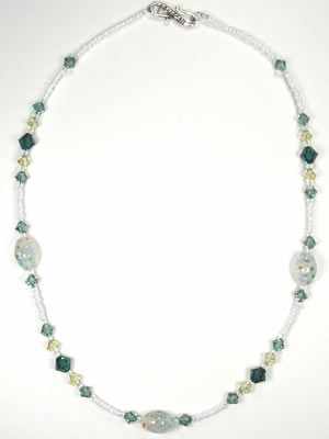 Swarovski emerald and yellow necklace