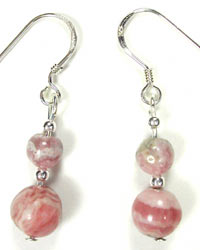 handmade rhodocrosite earrings