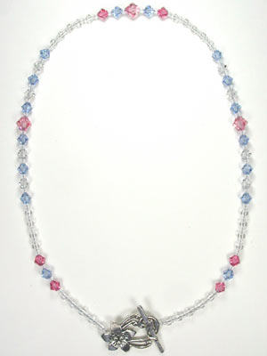 Swarovski rose and blue necklace