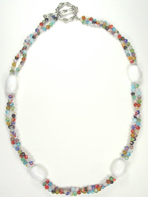multi color millefiori and white gemstone necklace