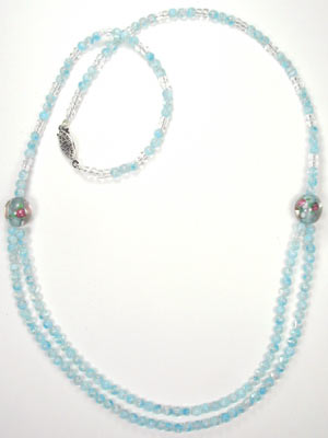 light blue millefiori glass 2 strand necklace