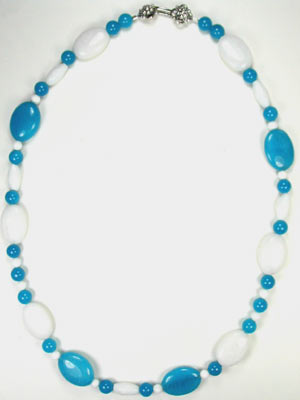 Handmade Blue and White Jade Necklace