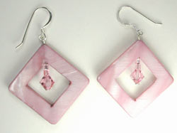pink mother of pearl and Swarovski earrings