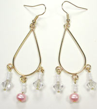 gold wire earrings with pink pearl and Swarovski crystal