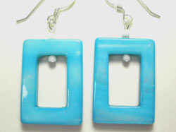 handcrafted blue mother of pearl earrings