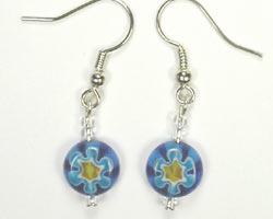 blue flower glass earrings
