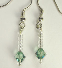 Swarovski Erinite And Seed Bead Earrings