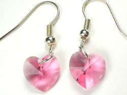 Swarovski Rose Crystal Heart Earrings