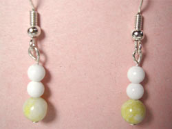 Lemon jade and white mountain jade earrings