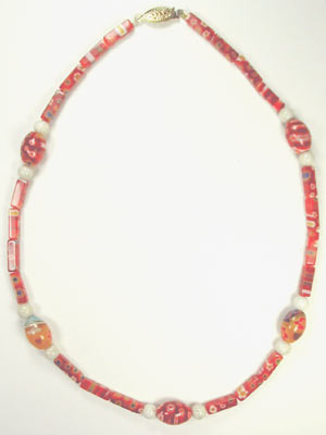 handcrafted red millefiori necklace