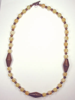wood and calcite necklace