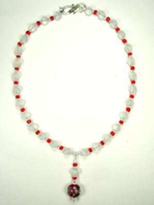 frosted quartz and red glass necklace