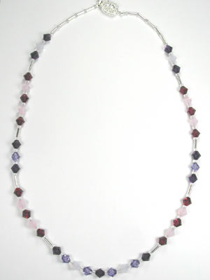 ruby and violet crystal necklace