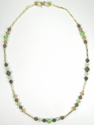 Swarovski brown and green necklace