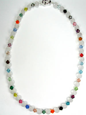 multi color crystal and quartz necklace