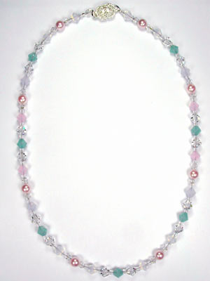 Swarovski crystal opal and pearl necklace