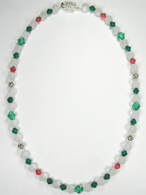 green crystal and quartz necklace