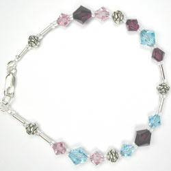 Swarovski purple and aqua bracelet