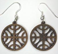 carved walnut abstract earrings