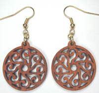 wood carved paisley earrings