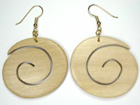 large whitewood carved earrings