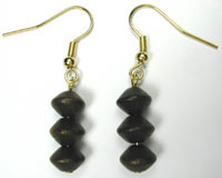 dark wood bicone earrings