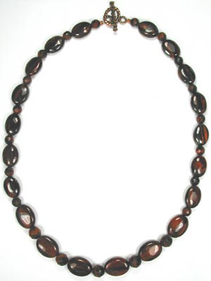 red tiger eye ovals necklace