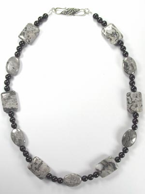 gray crazy lace necklace
