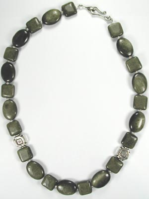 dark green shadow stone necklace