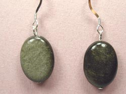 green shadow stone earrings