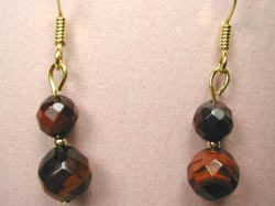 faceted red tiger eye earrings