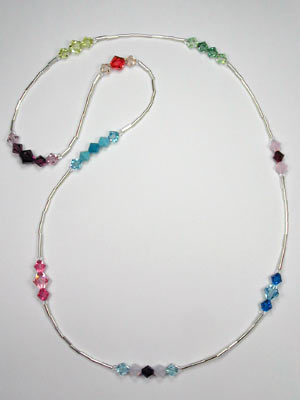 swarovski multi color and silver necklace