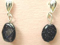 blue goldstone post earrings