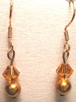 Swarovski copper and topaz earrings