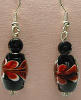 black and red lamp glass earrings