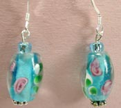 aqua lampwork glass earrings