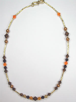 Swarovski brown and gold necklace