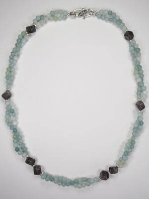 2 strand amazonite and smoky quartz necklace