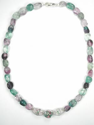 multi color fluorite necklace
