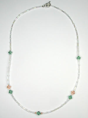 swarovski peach and green necklace