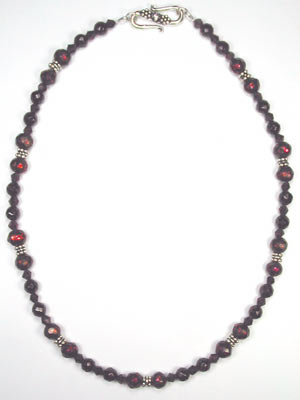 faceted red garnet and pearl necklace