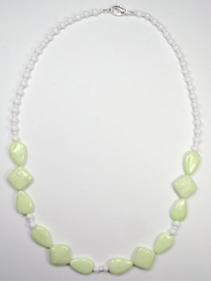 lemon chrysoprase and white jade necklace