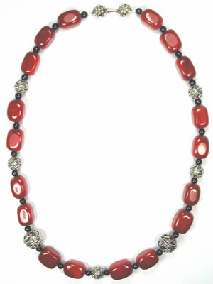 Bali silver and ruby jade necklace