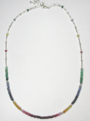 emerald, sapphire, ruby necklace