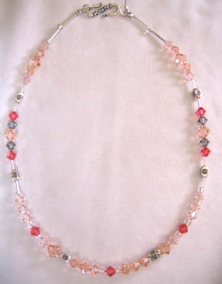 Light Peach Swarovsky Crystal Necklace